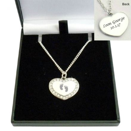 Baby Feet Necklace with Any Engraving on Heart Pendant